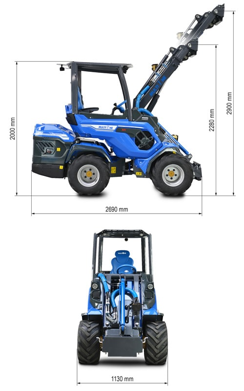 Multione 7.2 Mini Articulated Loader Lift Height